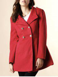 Fashionable Stand-Up Neck Long Sleeve Double-Breasted Women's Coat - RED