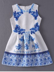 Vintage Style Jewel Neck Sleeveless Floral Print Jacquard Dress For Women -