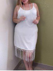 Stylish Spaghetti Strap Plus Size Fringed Women's Tank Top