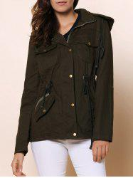 Casual Stand-Up Collar Long Sleeve Solid Color Drawstring Women's Jacket - ARMY GREEN