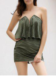 Alluring Strapless Low-Cut Flounced Solid Color Bodycon Dress For Women -