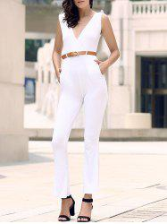 Trendy Solid Color Sleeveless Belted Wide-Leg Jumpsuit For Women - WHITE