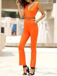 Trendy Solid Color Sleeveless Belted Wide-Leg Jumpsuit For Women - JACINTH