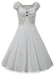 Vintage Sweetheart Neck Cap Sleeve Ruched Polka Dot Women's Dress