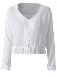 Fashionable Falbala Chiffon Blouse For Women