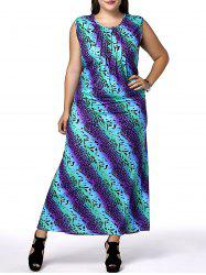 Casual Scoop Neck Sleeveless African Print Plus Size Women's Dress
