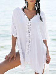 Lace Trim Slit Flowy Tunic Kaftan Cover Up - WHITE
