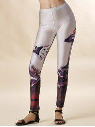 High Waist Slimming Printed Workout Leggings - OFF-WHITE