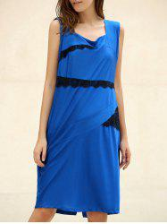 OL Square Neck Sleeveless Patch Lace Bodycon Dress For Women - SAPPHIRE BLUE 2XL