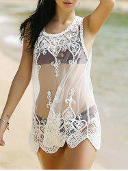 Alluring Lace Spliced Scoop Neck Women's Cover-Up -