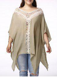 Stylish V Neck 3/4 Sleeve Asymmetrical Hollow Out Plus Size Maternity Blouse For Women