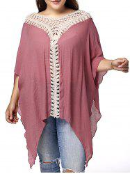 Stylish V Neck 3/4 Sleeve Asymmetrical Hollow Out Plus Size Maternity Blouse For Women - PINK XL
