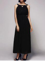 Elegant Sleeveless Rhinestoned Hollow Out Women's Chiffon Dress -