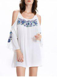 Chic Women's 3/4 Sleeve Ethnic Print Scoop Neck Cut Out Dress