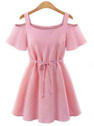 Stylish U Neck Short Sleeves Cut Out Tie Belt Solid Color Dress For Women -