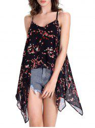 Chic Women's Open Back Print Asymmetrical Tank Top