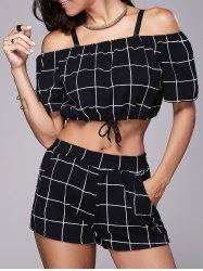 Checked Crop Top and Mini Short - BLACK
