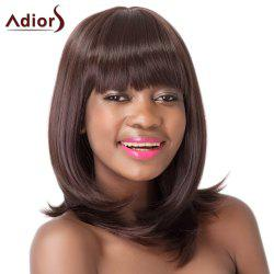 Silky Straight Dark Brown Synthetic Medium Full Bang Adiors Wig For Women