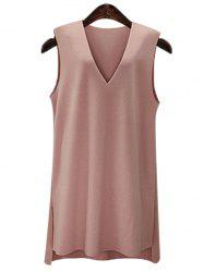 Stylish Plus Size V-Neck High Low Dress For Women -