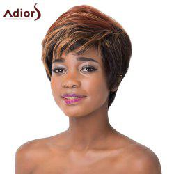 Spiffy Brown Black Mixed Capless Short Fluffy Wave Synthetic Adiors Wig For Women