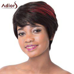 Outstanding Red Highlight Side Bang Capless Fashion Short Straight Synthetic Wig For Women