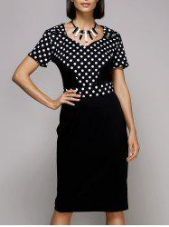 Vintage Sweetheat Neckline Polka Dot Midi Dress For Women