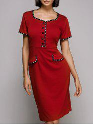 Vintage Sweetheat Neckline Polka Dot High Waisted Midi Dress For Women - RED 2XL
