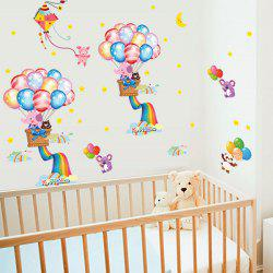 Cartoon Rainbow Balloon Pattern Kids Bathroom Wall Decals - COLORMIX