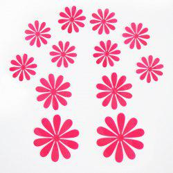 12PCS Creative 3D Floral Shape Plastic Wall Sticker For Kindergarten Children's Bedroom - WATERMELON RED