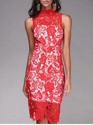 High Neck Sleeveless Cut Out Lace Dress - RED