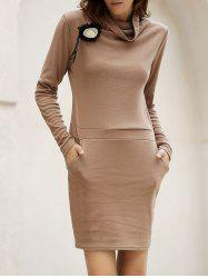 Stylish Cowl Neck Long Sleeve Solid Color Women's Bodycon Dress -