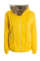 Casual Artificial Wool Embellished Hooded Zipper and Pocket Design Women's Cotton Coat - YELLOW