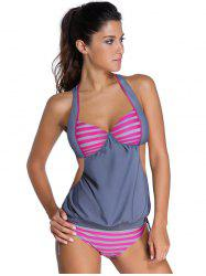 Halter Hollow Out Striped Blouson Tankini Set - GRAY
