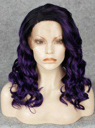 Shaggy Curly Long Synthetic Stunning Black Ombre Purple Side Parting Lace Front Wig For Women - BLACK AND PURPLE
