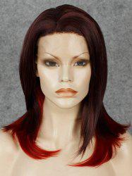 Two-Tone Ombre Long Lace Front Fashionable Straight Synthetic Wig For Women - COLORMIX