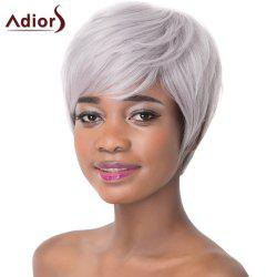 Attractive Light Gray Straight Capless Short Haircut Heat Resistant Synthetic Adiors Wig For Women
