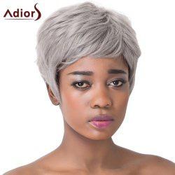 Trendy Short Layered Capless Fluffy Straight Gray Synthetic Adiors Wig For Women