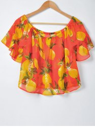 Sweet Slimming Boat Neck Fruit Printing Blouse For Women