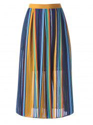 Flowy Stripe High Waisted Skirt - PURPLISH BLUE