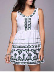 Sleeveless Embroidered Cutout Peasant Dress