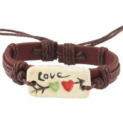 Vintage Faux Leather Letter Love Bracelets - COFFEE