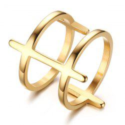 Gold Plated Double Layered Bar Ring
