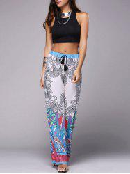 Stylish Racerback Crop Tank Top + Tassel Plants Printed Pants Women's Twinset -