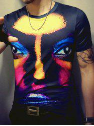 3D Face Print Round Neck Short Sleeve T-Shirt For Men -