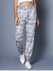 Chic High-Waisted Camo Print Pocket Design Women's Pants -
