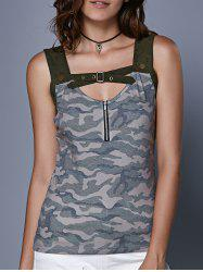 Stylish Women's Camouflage Hollow Out Crop Top -
