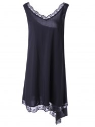 Fashionable V-Neck Sleevesless Asymmetric Lace Dress - BLACK