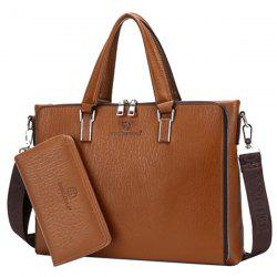 Trendy Zippers and Solid Colour Design Briefcase For Men