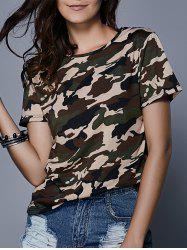 Fashionable Jewel Neck Short Sleeve Camouflage Print T-Shirt For Women