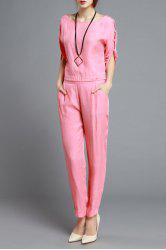 Fitting Cut Out T-Shirt and Solid Color Harem Pants -